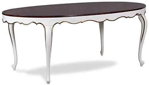 Casa Padrino Mesa de Comedor Barroco de Lujo marrón Oscuro/Blanco/Oro 207 x 114 x A. 78 cm - Mesa de Cocina Ovalada de Caoba - Muebles de Comedor barrocos - Calidad de Lujo
