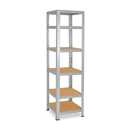 shelfplaza® HOME Estantería galvanizada 200x50x50cm / estanterías fuertes, estantería de 6 baldas, estanterías metálicas almacenaje, estantería de metal insertable, capacidad de carga de 145kg