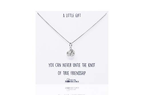 Chasing Moonbeams Sterling Silver Friendship Quote Knot Necklace Bestfriend BFF Birthday Gift Special Present Beautiful Gift Box