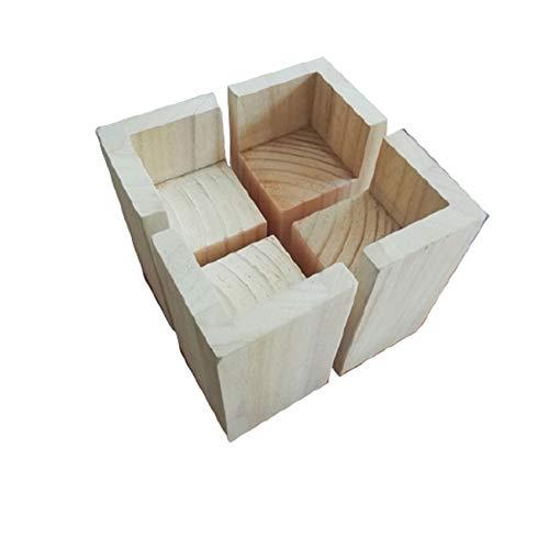 4 Stück Möbel Risers aus Holz,Möbelerhöher,Betterhöhung,Möbelerhöhung,Tischerhöher,Elefantenfuß Bed Riser,Dient zum Anheben von Betten,Sofas,Tischen,Schminktischen,Kinderbetten,Holzfarbe(9*9*20cm)
