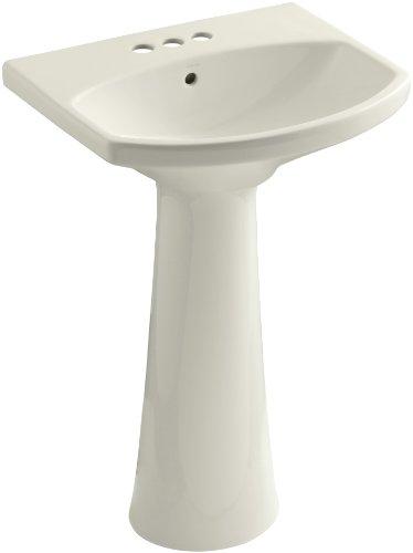 KOHLER K-2362-4-96 Cimarron Pedestal Bathroom Sink with 4' Centers, Biscuit