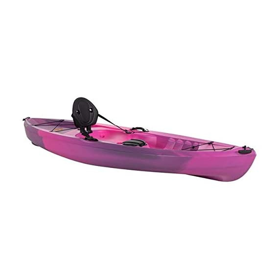 Lifetime Lotus Sit-On-Top Kayak with Paddle 6 Kayak Paddle included. Hull design provides ultra stability and great tracking Multiple footrest positions for different size Paddlers. Includes hard adjustable backrest Scupper holes drain Cockpit area. Molded Paddle cradle. Easy carry handle