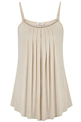 BEPEI Tops for Women,Baby Doll Baggy Ruffle Cami Peasant Blouse Form Fitting Rounded Hem Undershirt Stretchable Tee Shirt Pintuck Tunic Female Daily Wear Workouts Tank Beige M