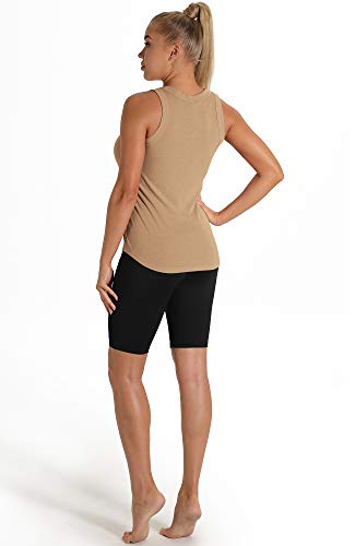 icyzone Workout Tank Tops for Women - Racerback Athletic Yoga Tops, Running Gym Shirts (Pack of 2) (M, Navy/Khaki)