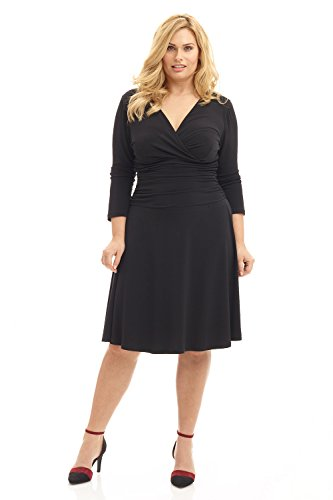 Rekucci Curvy Fit Plus Size Women's Slimming 3/4 Sleeve Tummy Control Dress (18W,Black)
