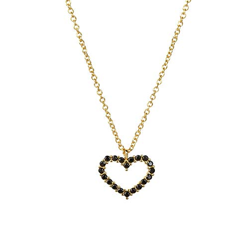SHENSHI Collar De Mujer Plata,Collar con Colgante Encantador Creativo De Plata De Ley 925, Corazón De Cadena Larga 2020, Pequeño, Ajustable, Lujoso, Elegante Y Delicado, Joyería, Negro