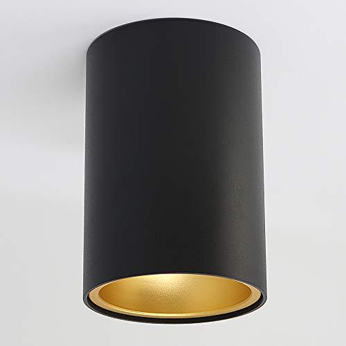 Aufbauleuchte Aufbaustrahler Aufputz SUNNY (rund, schwarz-matt/gold) GU10 Fassung 230V Deckenleuchte Strahler Deckenlampe Würfelleuchte Kronleuchter aus Aluminium Spot - ohne Leuchtmittel