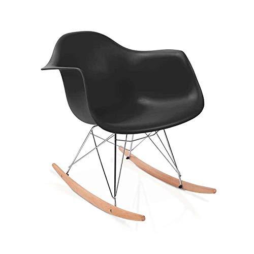 duehome Rocker - Silla Mecedora, Color Negro y Madera Haya, sillas balancin, Silla diseño nórdico,...