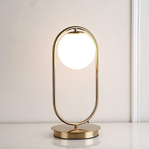 PElight ijzeren glazen bol LED tafellamp, bedlampje decoratielamp, E27 Nordic Moderne metalen bureaulamp, voor thuiskantoor, leeswerk, onderzoek gebruikt - met schakelaar