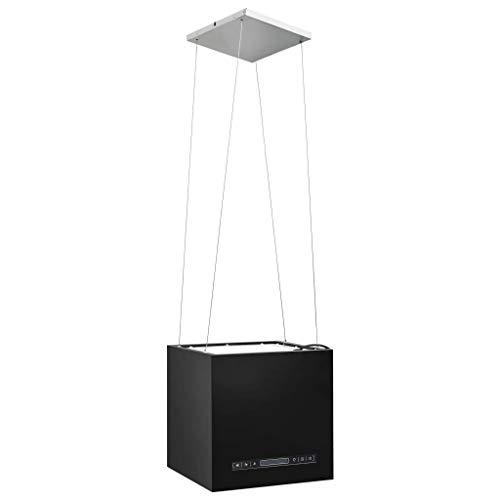 Festnight Cappa da Cucina ad Isola Sospesa LCD con Sensore 37 cm Cappe Aspirante 756 m³/h 3 Livelli di Potenza con Temporizzazione Acciaio Colore Argento/Nero