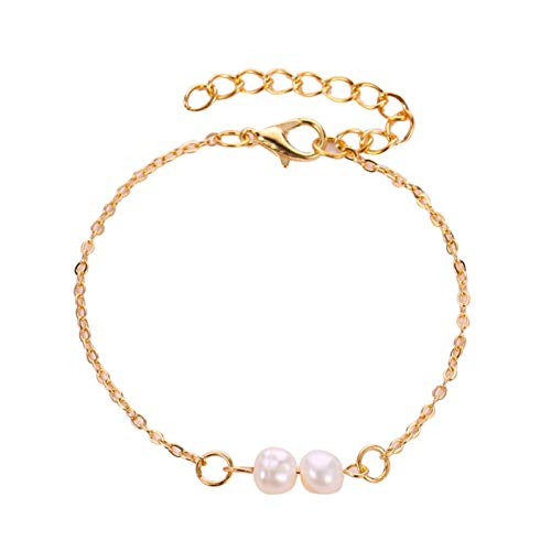 Pulseras sencillas clásicas de cobre de color dorado ajustable pulsera de cadena pulsera de perlas de agua dulce para mujer elegante pulsera (Color del metal: 2)