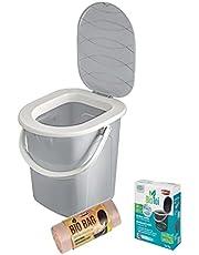3-częściowy zestaw: BranQ przenośna toaleta kempingowa 22 l maks. nośność do 120 kg, tworzywo sztuczne PP bez BPA + preparat biologiczny 5 x 25 g + 20 sztuk ekologicznych worków toaletowych