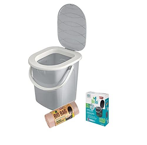 3- teilige Set: BranQ Mobile Campingtoilette 22 Ltr mit max. Tragkraft bis 120kg, BPA-freier Kunststoff PP + Biologisches Präparat 5x25 g + 20 Stück Bio Toilettenbeutel