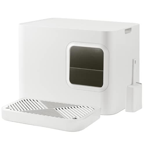Hoopo Dome Plus con Pala | arenero para Gatos | Mobiliario Interior | Rejilla colectora con pequeño contenedor extraíble | Hogar de Lujo para Gatos | Fácil Mantenimiento | 50 x 37.5 x 38 cm (Blanco)