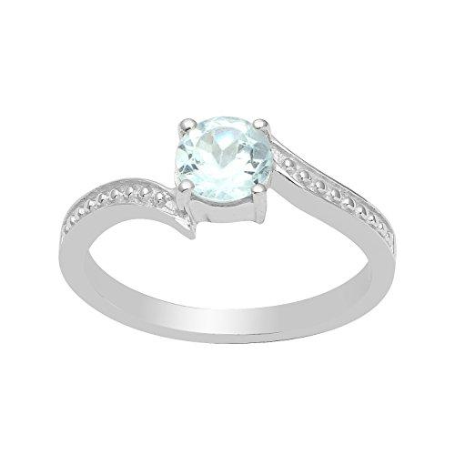925 Sterling Silber Blauer Topas Edelstein Schmuck Ring