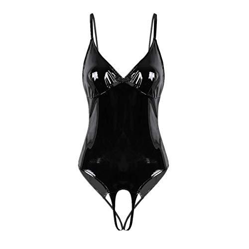 FEESHOW Damen Glänzend Bodysuit Catsuit Trikot aus Leder mit Reißverschluss Stringbody High Cut Thong Clubwear S-XL Schwarz Ouvert L