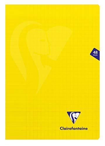 Clairefontaine 343101C Un Cahier Agrafé Mimesys Jaune - A4 21x29,7 cm 48 Pages Grands Carreaux Papier Clairefontaine Blanc 90 g - Couverture Polypro