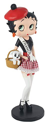 Midden-Engeland 31cm Betty Boop Franse kostuum stof Rok Puddy in mand Collectable Figurine