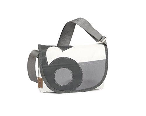 360° Perle Handtasche Damen aus Segeltuch, kleine Recycling Shopper Tasche, Schultertasche Umhängetasche, weiss, Zahl grau