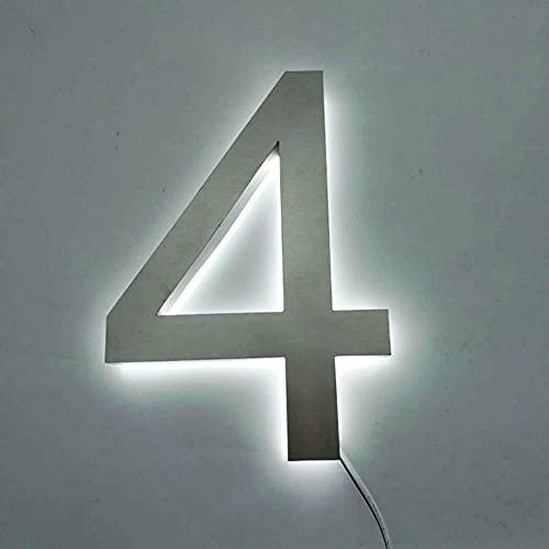 YIJIAO Numeri civici Illuminati 3D per Esterni Personalizzati Numeri civici retroilluminati a LED in Acciaio Inossidabile
