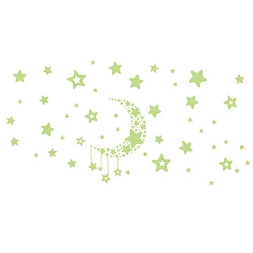 STOBOK Moon Star Etiqueta de La Pared Fluorescencia Decoración de La Pared...