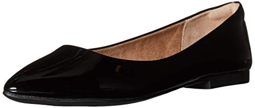 Amazon Essentials Women's Pointed-Toe Ballet Flat, Black Faux Patent Leather, 7 B US