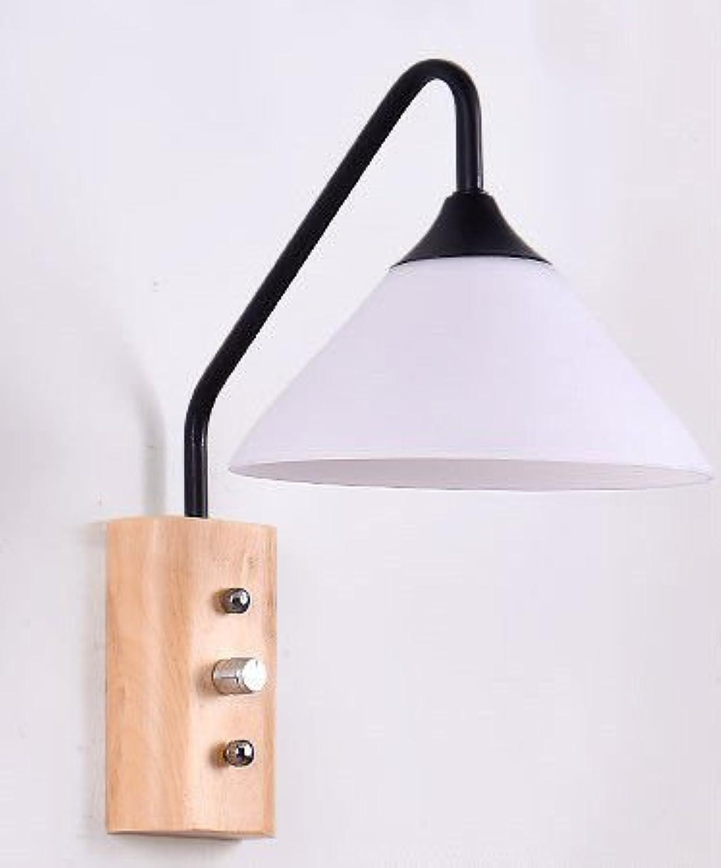 Wlxsx Moderne Minimalistische Japanische Schlafzimmer Nachttischlampe Nordic Kreative Persnlichkeit Gang Massivholz Wandleuchte Schwarz