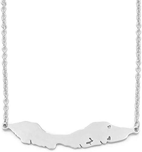 quanjiafu Collar Collares con Colgante De Mapa De Las Islas De Curazao De Tamaño Grande De 5 Cm, Mapas De Joyería De Acero Inoxidable, Regalo De 50 Cm