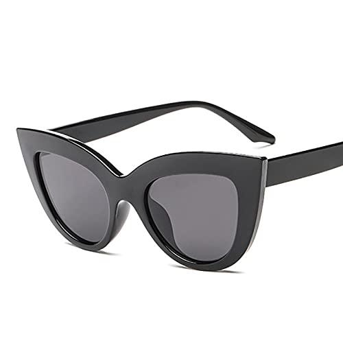 Secuos Gafas De Sol De Ojo De Gato con Espejo Vintage para Mujer, Gafas De Sol Negras Retro De Diseñador De Marca para Mujer, Ojo De Gato Uv400, Negro