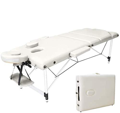 Vesgantti Table de Massage Portable Aluminium Lit Cosmétique Professionnel Pliante avec Housse de Transport, 3 Zones - Beige