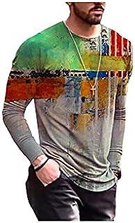 Fbnzmluqcx Long Sleeve Shirts Men's Oversized Vintage Long Sleeve T Shirts Spring Fashion Harajuku Print O Neck Tshirts fo...