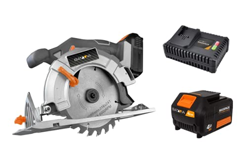 Batavia Cordless Circular Saw 18V Li-Ion Bundle (Includes 4Ah Battery & Charger) 165mm, Adjustable Cutting Depth, Compact & Lightweight, Ergonomically Shaped, Great to Cut Wood, Plastic, Soft Metal