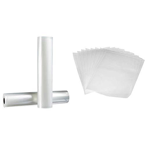 AmazonBasics 28 cm x 500 cm, 2 Rollen für Vakuumierer & Vakuumierbeutel 22cm x 30 cm, 50 Stück