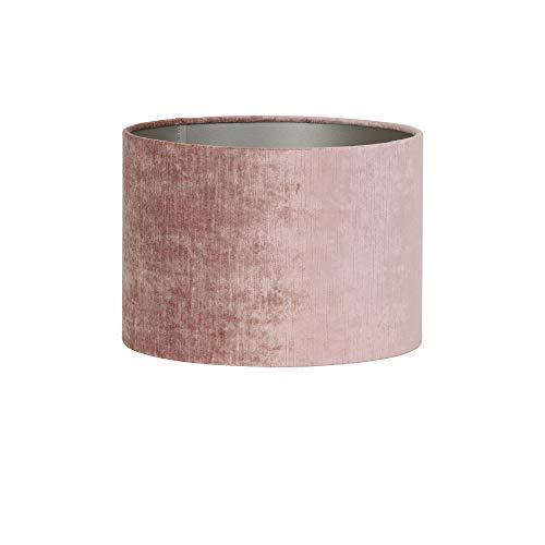 Light & Living Gemstone Abat-jour cylindrique en velours Vieux rose Ø 35 x 30 cm