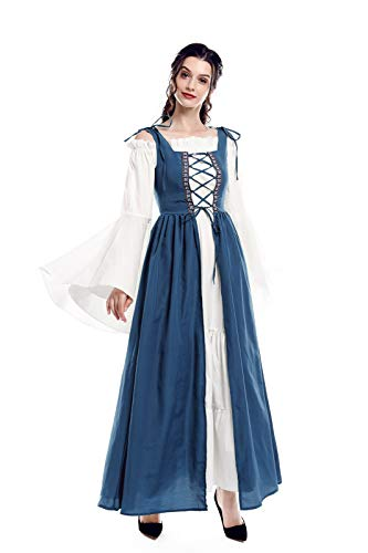 Renaissance Costume Women Plus Size Over Dress Chemise Boho Set Medieval Celtic Irish Dress Costume Light Blue XXL/3XL