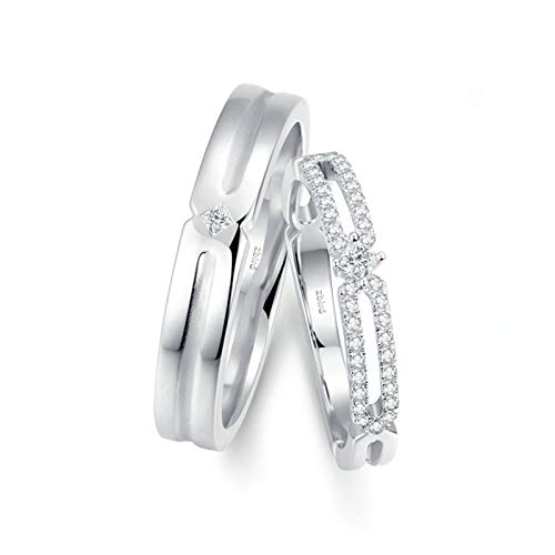 KnSam Anillo Oro Blanco de 18K, Bambú Hueco Anillo de Compromiso con Diamante Blanco 0.034ct, Mujer Talla 25 y Hombre Talla 15 (Precio por 2 Anillos)
