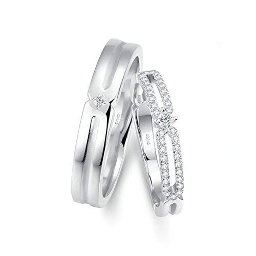 Aienid 18 Karat Weißgold Ring Für Paare Mit Gravur Silber Hohlbambus Paar Ringe Set Frauen 62 (19.7) & Herren 61 (19.4)