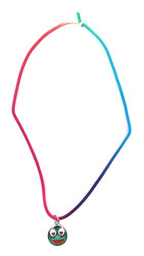 Onwomania - Cadena de Emoticono, diseño de Smiley con Ojos de corazón, Longitud de 49 cm