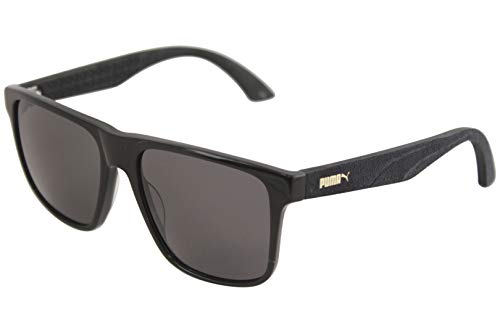 PUMA Herren PU0104S 001 Sonnenbrille, Schwarz (Black/Smoke), 54