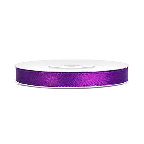 DaLoKu Satinband 6/12/25/38/50/100mm x 25m Geschenkband Schleifenband, Größe: 6mm x 25m, Farbe: Purple