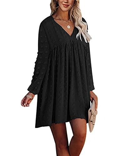 Vestido de cuello en V para mujer Mini vestido de jacquard suelto Casual Color sólido vestido de volantes, Negro, XL