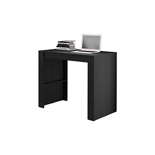 Goomy Console Table de Repas Extensible Rectangulaire avec Rallonges pour Salle à Manger et Séjour Noir 50-180 x 90 x 75 cm