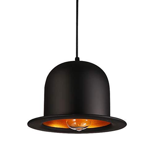 AOKARLIA Candelabros Lámpara de luz retro Sombrero Vintage Lámpara colgante de hierro negro para comedor Cafe Luces de techo, B