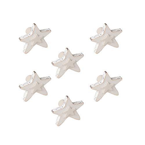 6 Un. bouton poignées de meuble pour bébé étoile bois blanc SHABBY CHIC 60x54MM pour tiroir commode et armoire