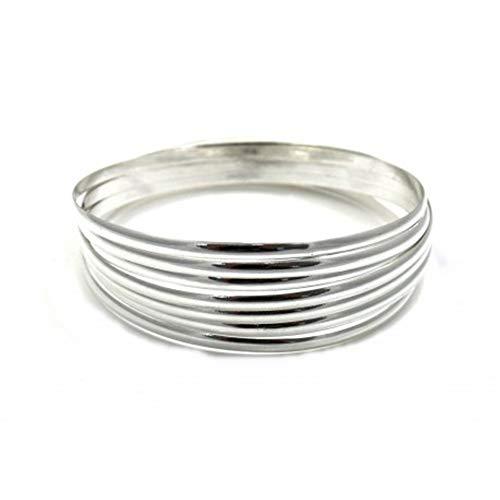 Minoplata Pulseras Semanario media caña Lisas de Plata de Ley 3 Mm. de anchas y 65 Mm. de diámetro, juego formado por siete pulseras ideal para regalar a mujeres que adora las joyas que nunca pasan de moda