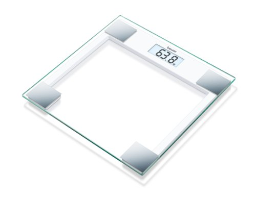 Beurer GS 14 - Báscula de baño de vidrio, vidrio de seguridad, apagado automático, puesta en marcha con sensor vibración, 150 kg / 100 gr, color transparente/ Blanco/ Plateado