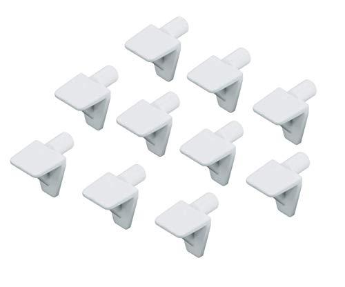 Gedotec Fach-Bodenträger Regal-Halter zum Einstecken - H3143 | Bohrloch Ø 5 mm | Regal-Halterung zum Befestigen von Glas & Holz-Böden | Kunststoff weiß | 50 Stück - Tablarträger für Möbel & Schränke