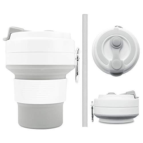 Lambony inklapbare koffiebeker - Herbruikbare opvouwbare beker voor levensmiddelen, siliconen reisbeker met deksels en stro 350ml, BPA-vrij, ecologische koffiemokken, lekbestendig, milieuvriendelijk en draagbaar (met karabijnhaak)