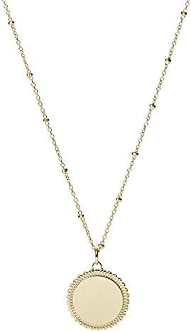 Fossil Women's Plated Stainless Steel Engravable Personalized Gift Pendant Chain Necklace