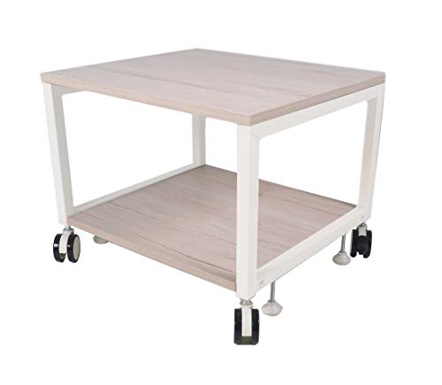 NEUN WELTEN Multi Carrello di Legno 50 x 45 x 39 cm (L x L x A), Supporto per dispositivi sotto Il Tavolo e banco per Stampante (Model 2)